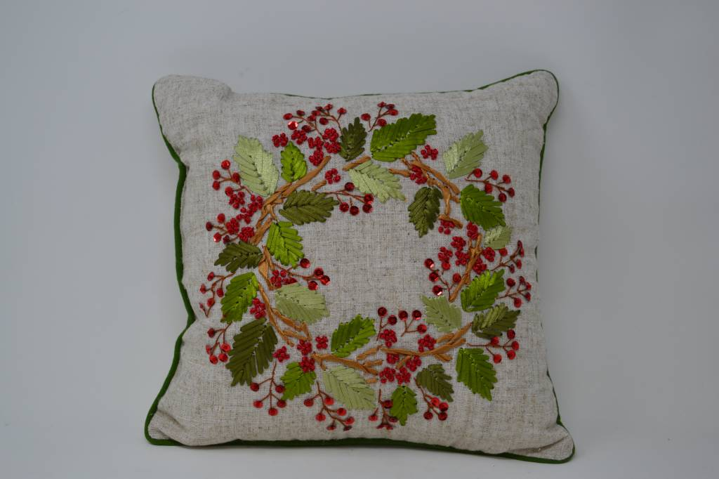 Square Sequin Wreath Pillow