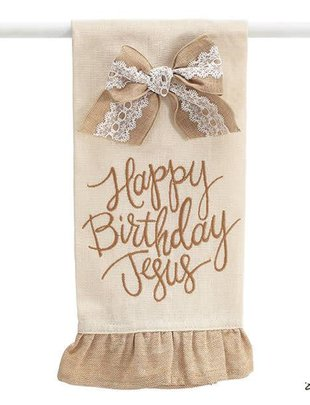Burlap Happy Birthday Jesus Towel