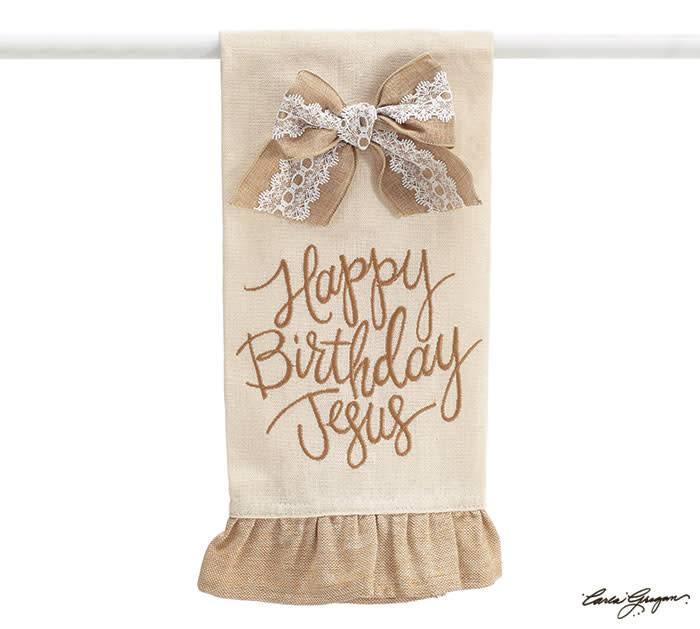 Burlap Happy Birthday Jesus Towel