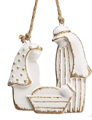 White Porcelain Nativity Ornament