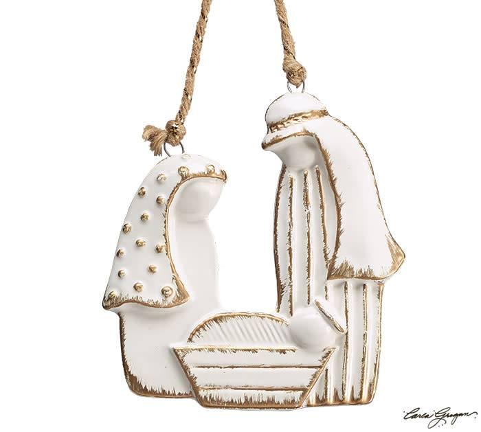 White Porcelain Nativity Ornament