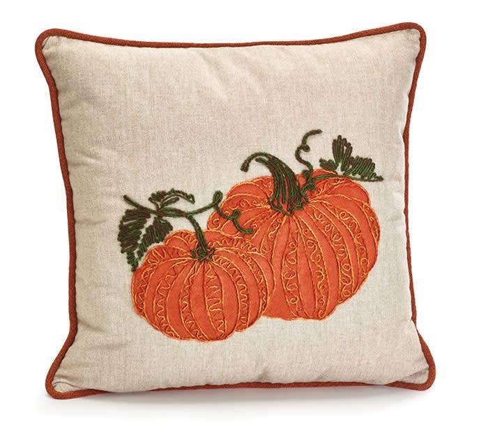 Embroidered Pumpkin Pillow