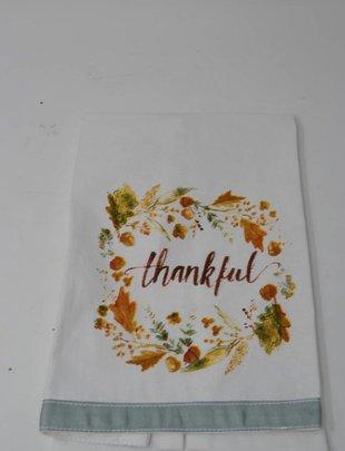 Thankful Acorn Wreath Tea Towel
