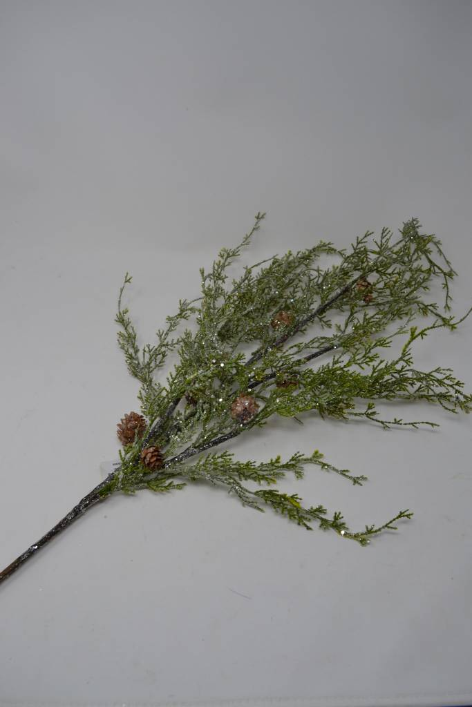 "36"" Iced Cedar Pinecone Branch"