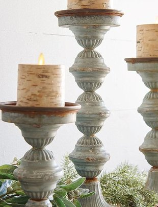 Galvanized Candle Stick Set of 3