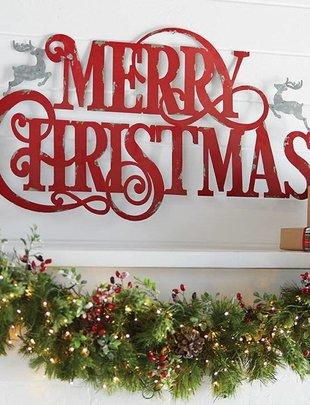 Metal Merry Christmas Sign w/ Reindeer