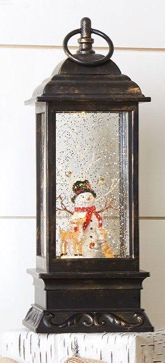 LED Snowman Snow Globe Lantern