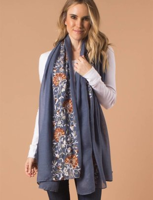 Fall Embroidered Scarf (3 Colors)