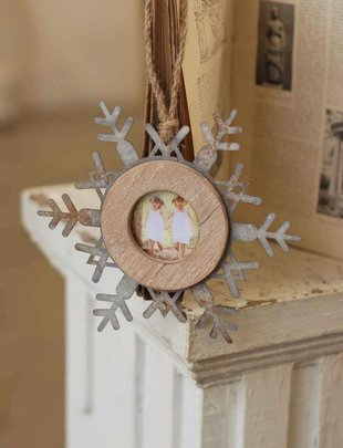 Hanging Galvanized Snowflake Photo Frame