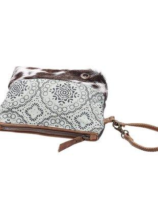 Vintage Wristlet Teal Bag w/ Fur