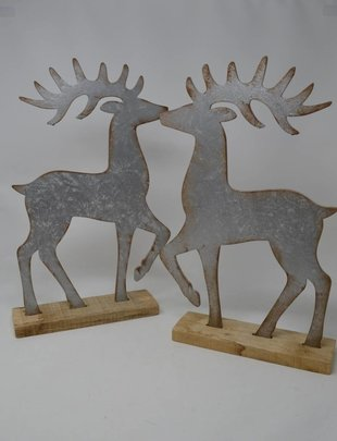 Set of 2 Rustic Silver Deer