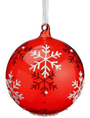 Red Snowflake Glass Ball Ornament