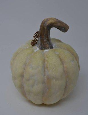 Fat White Ridged Terracotta Pumpkin
