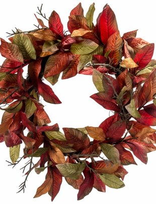 Fall Magnolia Leaf Twig Wreath