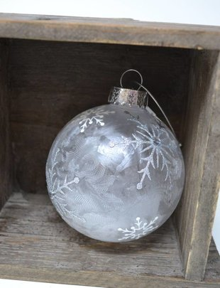Frosted Snowflake Ball Ornament