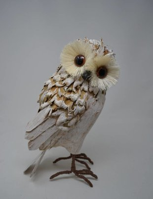 Natural Whitewashed Standing Owl