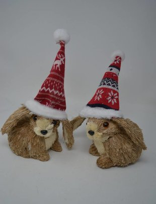 Santa Hat Rabbit Ornament (2 Styles)