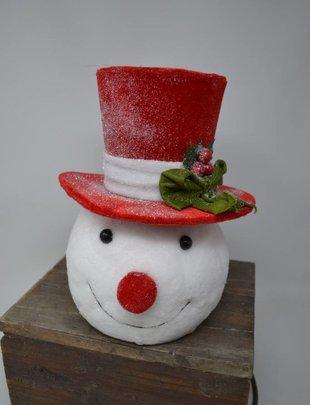 Top Hat Shimmer Snowman Head Ornament