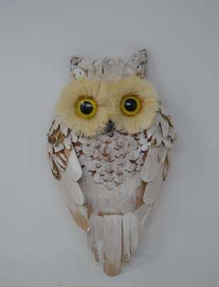 Natural Whitewashed Owl Ornament