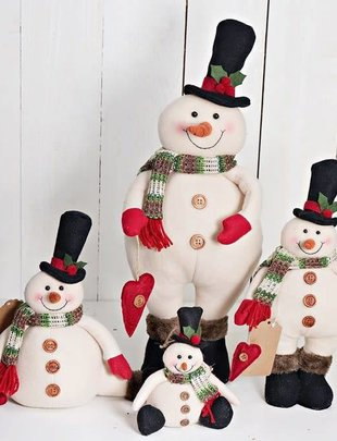 Plush Button Heart Snowman (4 Sizes)