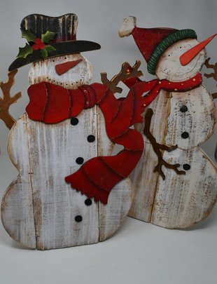 Large Wooden Snowman w/ Easel (2 Styles)