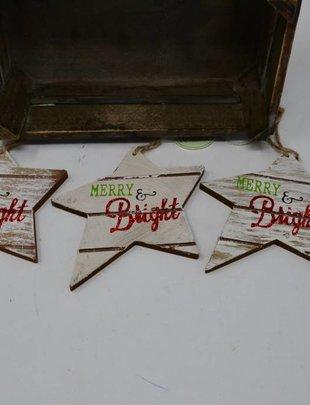 Merry & Bright Wood Star Ornament