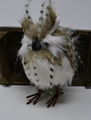 "6"" Standing Zebra Feather Owl"