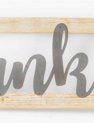 Thankful Metal & Wooden Sign