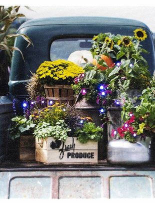 LED Table Top Vintage Truck with Flowers Canvas