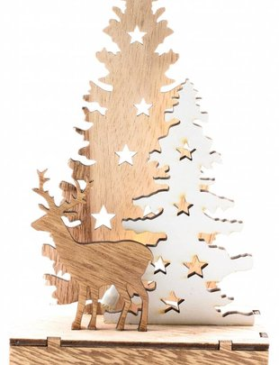LED Laser Cut Winter Deer Scene (2 Styles)