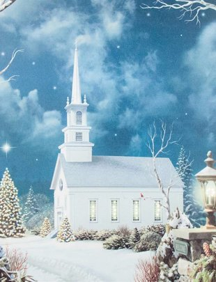 LED Church In Woods Canvas