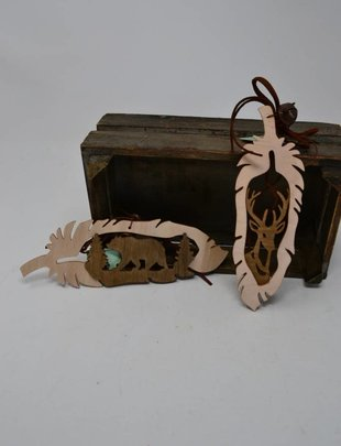 Wooden Feather Ornament (2 Styles)