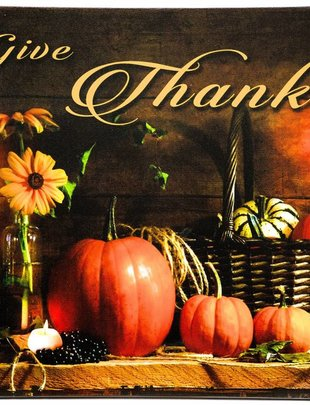 LED Table Top Give Thanks Canvas