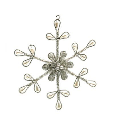 Beaded Pearl Snowflake Ornament