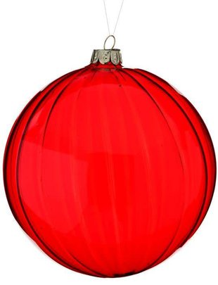 Striped Red Glass Ball Ornament