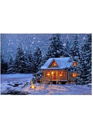 LED Log Cabin & Campfire Canvas