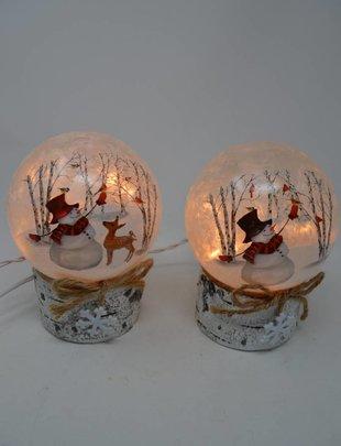 Round Lighted Snowman on Birch Base (2 Styles)