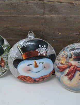 Lightable Glass Disc Snowman Ornament (3 Styles)
