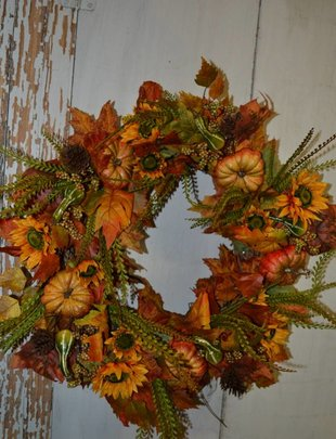 Custom Fall Pumpkin Sunflower Wreath