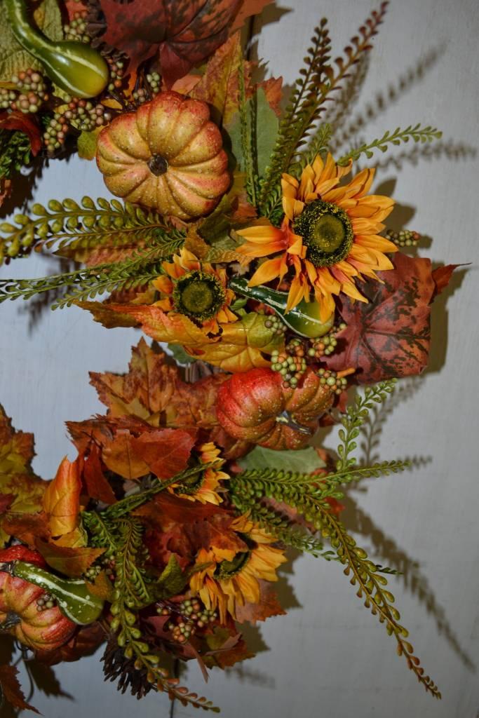 Custom Fall Pumpkin Sunflower Wreath