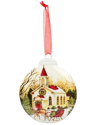 Country Church Small Disc Ornament