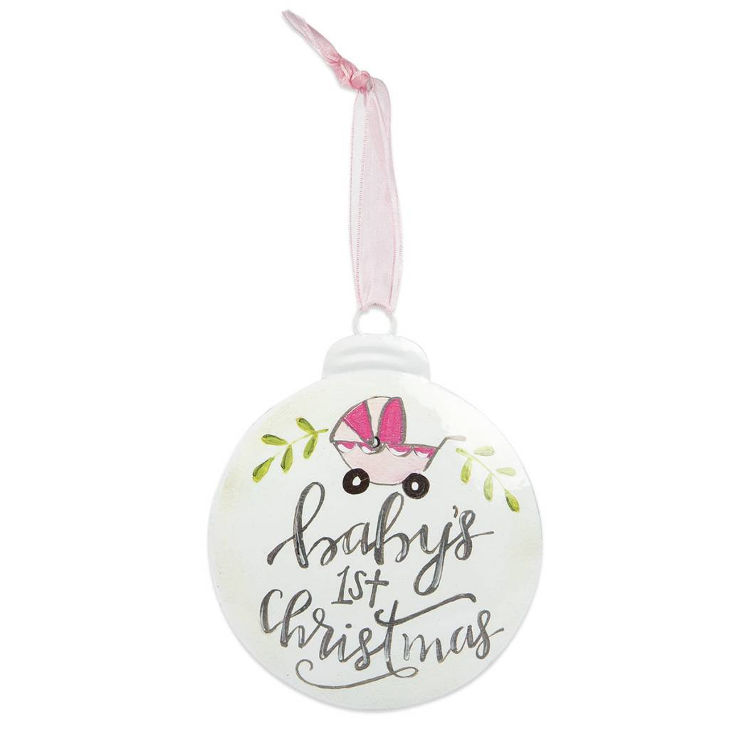 Baby Girls 1st Christmas Disk Ornament