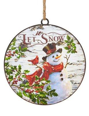 Let it Snow Snowman Disk Ornament