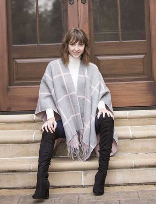Pink Gray Stripe Cape
