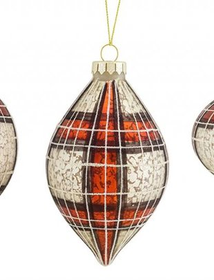 Red Gray Plaid Glass Ornament (3 Styles)