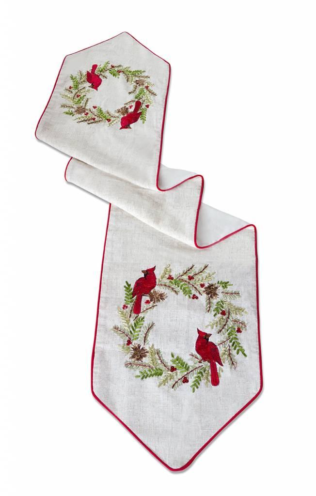 Cardinal Pine Wreath Table Runner 5'