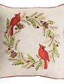 Cardinal Pine Wreath Pillow