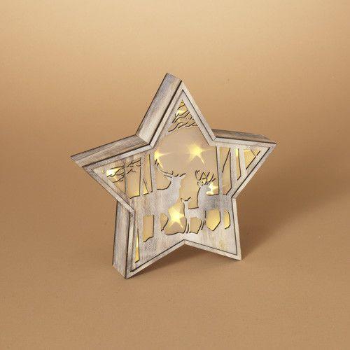 Lighted Star Deer Scene