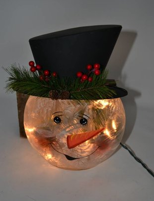 """12"""" Electric Lighted Snowman Head"""