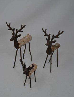 Set of 3 Metal Birch Deer